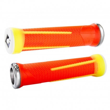 POIGNEE ODI AG1 FLANGE ORANGE / JAUNE LOCK ON BLANC