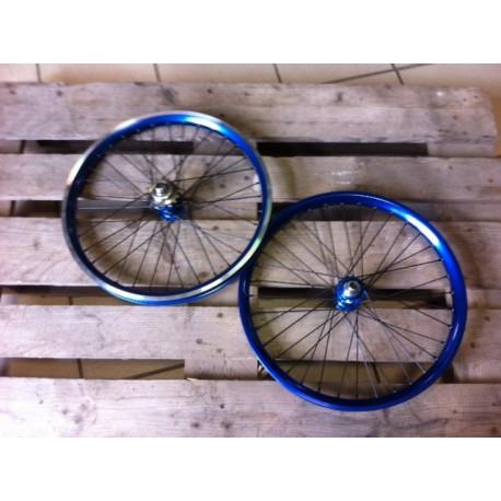 Paire De Roue Profile Mini Race Bleu